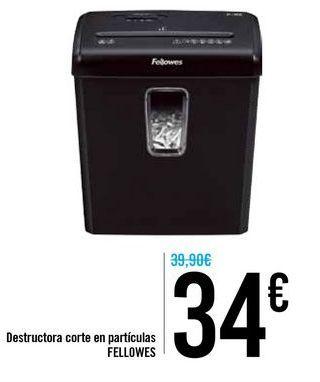 Oferta de Destructora corte en partículas FELLOWES  por 34€