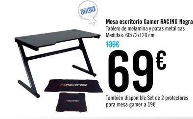 Oferta de Mesa escritorio Gamer Racing Negra por 69€