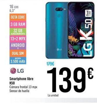 Oferta de Smartphones libre K50 LG  por 139€