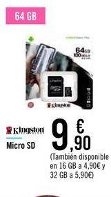 Oferta de Micro SD Kingstone  por 9,9€