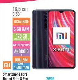 Oferta de Smartphone libre Redmi Note 8 Pro por 239€