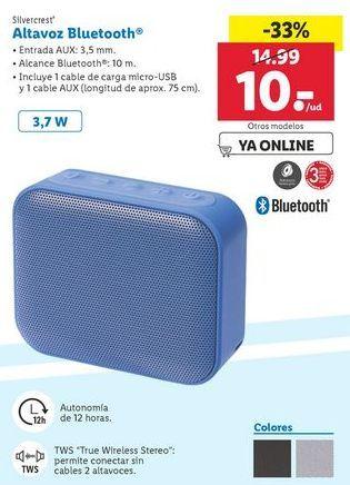 Oferta de Altavoz Bluetooth Silvercrest por 10€