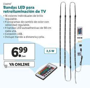 Oferta de Bandas LED para retroiluminación de tv Livarno  por 6,99€