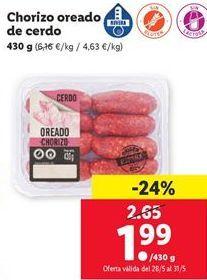 Oferta de Chorizo oreado de cerdo por 1,99€