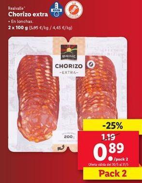 Oferta de Chorizo extra Realvalle  por 0,89€