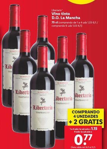 Oferta de Vino tinto D.O. La Mancha  por 0,77€