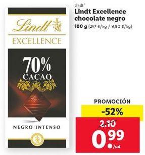 Oferta de Chocolate Excellence chocolate negro Lindt por 0,99€