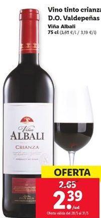Oferta de Vino tinto crianza D.O Valdepeñas  por 2,39€