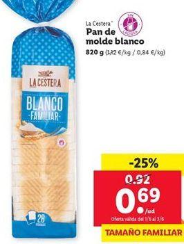 Oferta de Pan de molde blanco La Cestera  por 0,69€