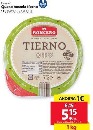 Oferta de Queso mezcla tierno Roncero por 5,15€