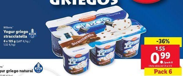 Oferta de Yogur griego straciatella Milbona por 0,99€