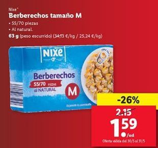 Oferta de Berberechos tamo M Nixe  por 1,59€