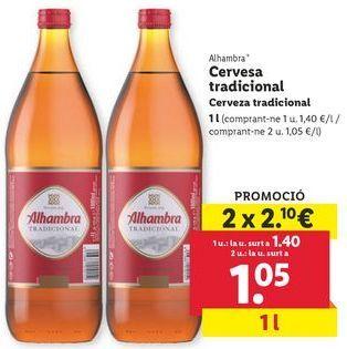 Oferta de Cerveza tradicional Alhambra por 1,05€