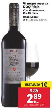 Oferta de Vino tinto reserva D.O.Ca Rioja  por 2,89€