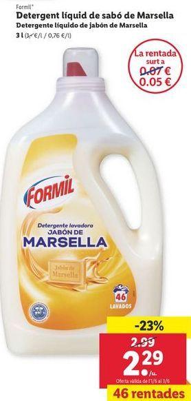 Oferta de Detergente líquido de jabón Marsella Formil  por 2,29€