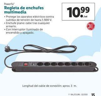 Oferta de Regleta de enchufes multimedia Powerfix  por 10,99€