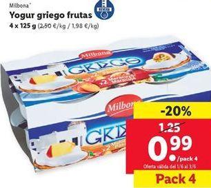 Oferta de Yogur griego frutas Milbona  por 0,99€