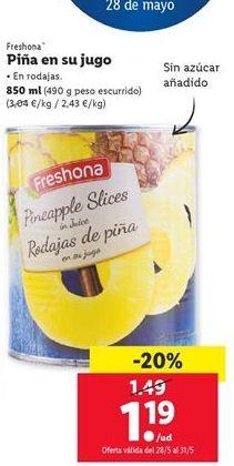 Oferta de Piña en su jugo Freshona por 1,19€