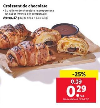 Oferta de Croissants de chocolate por 0,29€