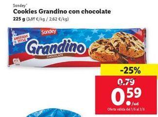 Oferta de Cookies Grandino con chocolate Sondey por 0,59€