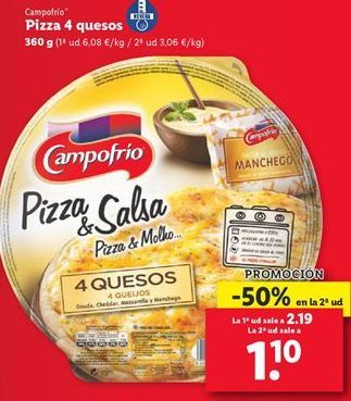 Oferta de Pizza 4 quesos Campofrío  por 1,1€