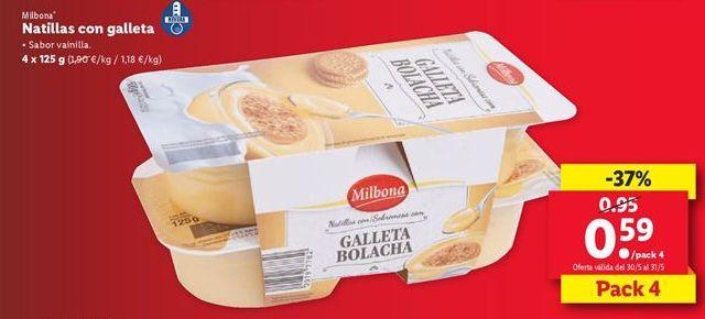Oferta de Natillas con galletas Milbona  por 0,59€