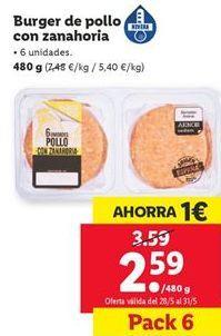 Oferta de Burguer de pollo con zanahoria por 2,59€