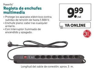 Oferta de Regleta de enchufes multimedia Powerfix  por 9,99€