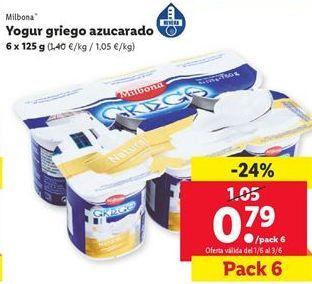 Oferta de Yogur griego azucarado Milbona  por 0,79€