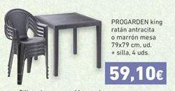 Oferta PROGARDEN king ratán antracita o marrón mesa + sillas Hiperdino