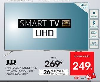 Oferta de Smart tv led Td systems por 269€