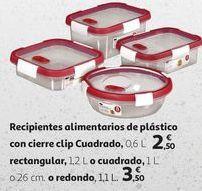 Oferta de Recipientes alimentario de plástico con cierre clip Cuadrado  por 2,5€
