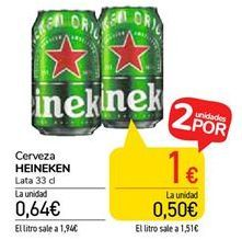 Oferta de Cerveza HEINEKEN por 0,64€
