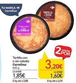 Oferta de Tortilla con o sin cebolla carrefour por 1,85€