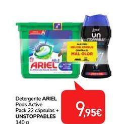 Oferta de Detergente en cápsulas Ariel Pods active +Unstoppables por 9,95€