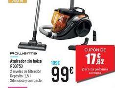 Oferta de Aspirador sin bolsa RO3753 Rowenta por 99€