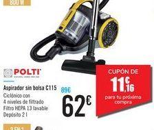Oferta de Aspirador sin bolsa C115 POLTI por 62€