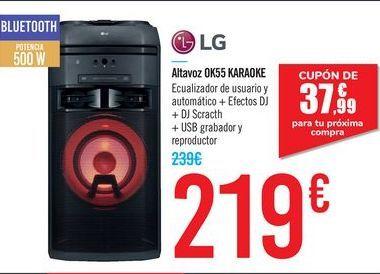 Oferta de Altavoz OK55 KARAOKE LG por 219€