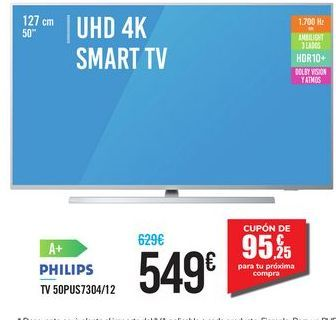"Oferta de UHD 4K SMART TV 50"" 50PUS7304/12 por 549€"