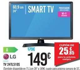 "Oferta de SMART TV 24"" 24TL510S LG por 149€"