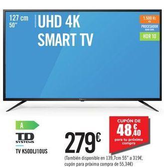 "Oferta de UHD 4K SMART TV 50"" K50DLJ10US TD SYSTEM por 279€"