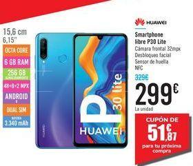Oferta de Smartphone libre P30 Lite HUAWEI por 299€