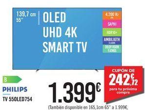 "Oferta de OLED UHD 4K SMART TV 55"" 55OLED754 PHILIPS por 1399€"