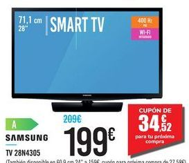"Oferta de SMART TV 28"" 28N4305 SAMSUNG por 199€"
