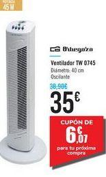 Oferta de Ventilador TW 0745 Orbegozo por 35€