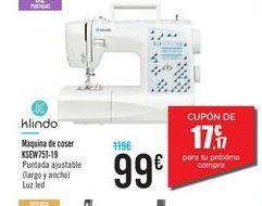 Oferta de Máquina de coser KSEW751-19 Klindo por 99€