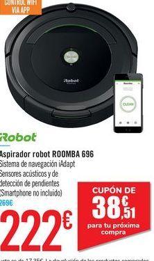 Oferta de Aspirador robot ROOMBA 696 iRobot por 222€