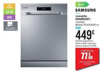Oferta de Lavavajillas DW60M6050FS SAMSUNG por 449€