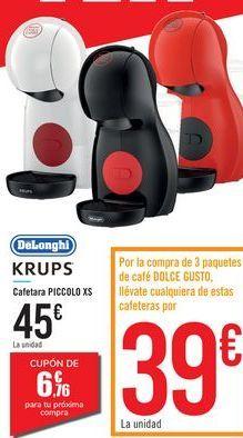 Oferta de Cafetera PICCOLO XS KRUPS DeLonghi por 45€
