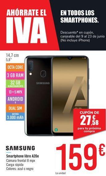 Oferta de Smartphone libre A20e SAMSUNG por 159€